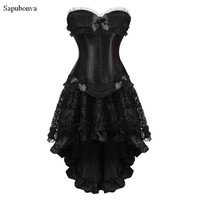 Sapubonva burlesque corset and skirt set lace corset dress Gothic gowns corsets and bustiers party plus size vintage sexy black