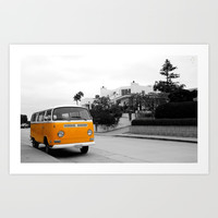 Yellow Bus Art Print by Derek Delacroix