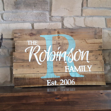 Rustic Personalized Wood Monogram Sign-Pallet Robinson style