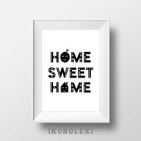 Home sweet home, wall prints, kitchen decor, typography poster, sweet home, minimalist art, hygge, affiche scandinave, housewarming gifts