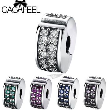 GAGAFEEL Green Crystal Pave Drums Clip Beads fit Pandora Bracelet Bangle 925 Sterling Silver Charm Beads for Women Jewelry