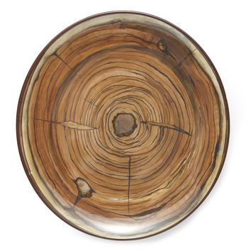 "Faux Bois Melamine Plates, 12.25"", Set of 4, Dinner Plates"