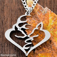 Custom Buck and Doe Heart Initial necklace, Your Initial, Hand Cut Coin