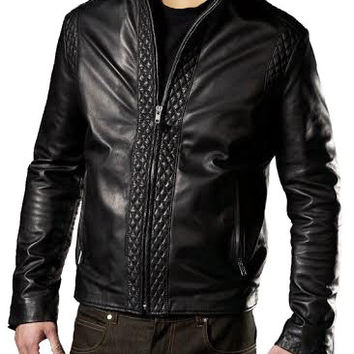 Black leather jacket with patterns