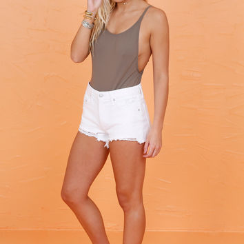 High Cut One Piece Swimsuit - Taupe