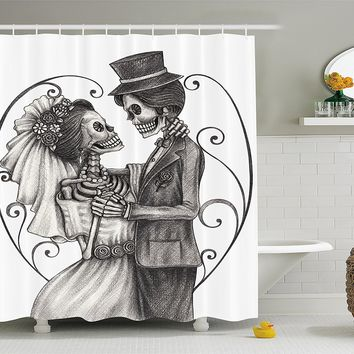 Day Of The Dead Decor Shower Curtain Skull Marriage