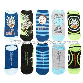 Licensed cool Rick And Morty Lets Get Schwifty Character No-Show Ankle Socks 5 Pair Adult Swim