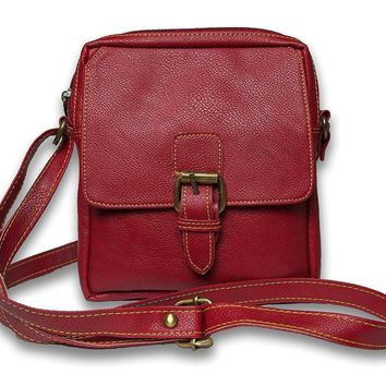 IN-INDIA Pure Leather Girls Ladies Casual Travel Smart Red Shoulder Sling Bag