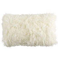 Long Shaggy Oblong Pillow - Ivory