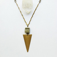 Triangle Pyrite Necklace // Minimal Necklace // Raw Pyrite Necklace // Arrow Necklace // Geometric Necklace // Simple Necklace