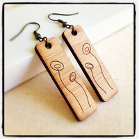 Wooden earrings - eco friendly wood with poppy flowers. Unique laser cut wooden jewelry.