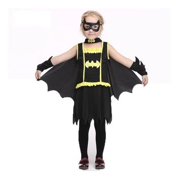3PCS Kids Batman Clothing Girls Bat-man Costume Batgirl Costumes Black Dress Eye-mask Cloak Halloween Cosplay Costume Children