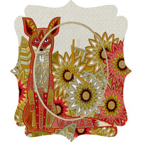 Sharon Turner Garden Fox Quatrefoil Clock