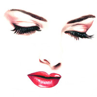 woman looking down face features original art drawing , colored pencil, red lips long lashes makeup beauty fashion artwork