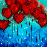 'Hearts on Fire - Romantic Art By Sharon Cummings' by Sharon Cummings