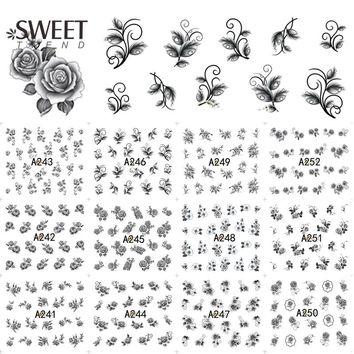 12Designs Sexy Black Nail Art Flower Decor Water Transfer Beauty Nail Tips Stickers Decals Manicure Styling Tools LAA241-252