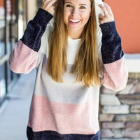 Get Cozy Color Block Pullover- Grey/Pink
