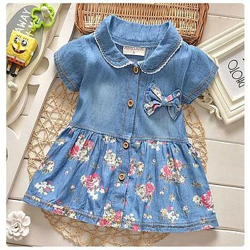 2017 summer infant baby clothes newborn baby girls tutu dress brand denim princess party dresses for baby girls clothing dress
