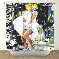DiaNoche Designs Shower Curtains by Arist Ty Jeter Unique, Cool, Fun, Funky, Stylish, Decorative Home Decor and Bathroom Ideas - Marilyn Monroe