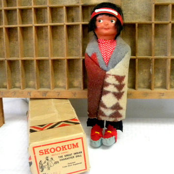Skookum doll circa 1918 to 1924 with original box vintage Bully Good 4029