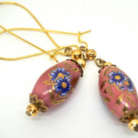 Pink Dangle Earrings,Cloisonné Style Ceramic Bead Earrings,Handmade Earring with Vintage Beads,Romantic Boho Earrings,Gold Tone Earrings