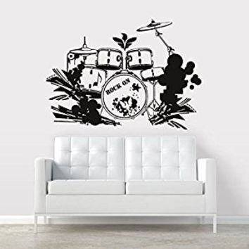Wall Decal Vinyl Sticker Decals Art Decor Design Sing Rock on Brums Percussion Instruments Music Wings Star Gift Man Bedroom Dorm (r355)