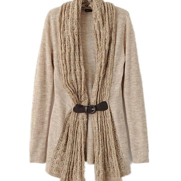 Women Long Sleeve with Belted Knitting Sweater Cardigan Outwear