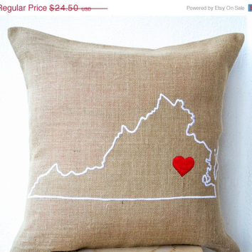 Valentine SALE Burlap Pillow- State Pillow- Embroidered pillow- Personalized Pillow- Customized Cushion- Gift-14x14 - Gift for Mom- Christma
