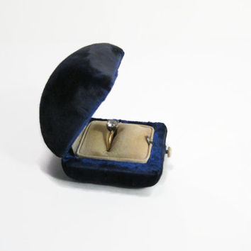 Antique Ring Box Blue Velvet Wedding Ring Box, Engagement Ring Antique Box, Jewery Gift Box