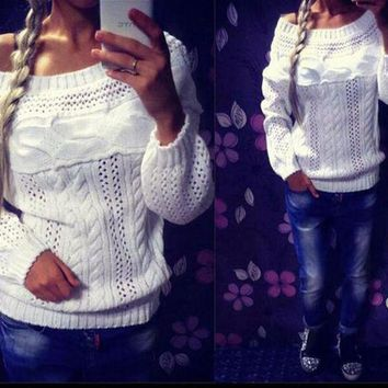 ICIK1W Leisure hollow out word collar sweater