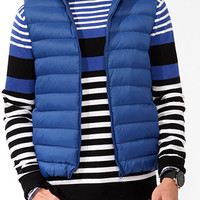 Hooded Puffer Vest Blue Large