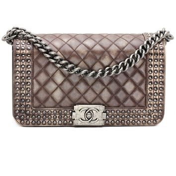 Chanel Medium Boy Quilted Flap Bag with Studs in Brown Aged Leather