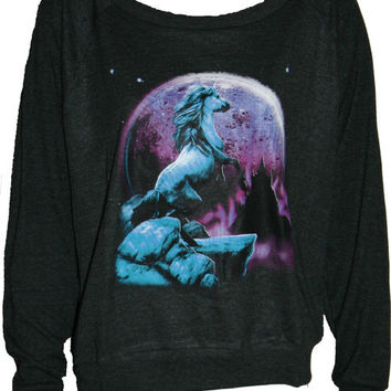 "UNICORN Pullover Slouchy ""Sweatshirt"" Top American Apparel Black S M or L"