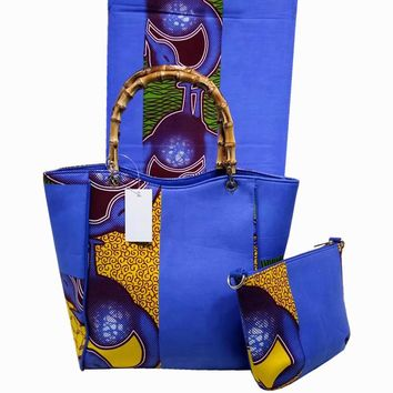 High Quality African wax bag fabric set With 6 yards wax prints fabric