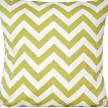 Green Chevron Pillow Cover Natural Decorative 16x16