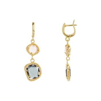 Gold Over Sterling Silver Peach and Black Glass Stone Abstract Drop Earring