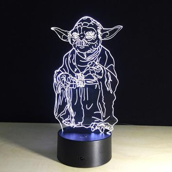 Novelty 3D Building Light Star Wars Yoda LED Night Light LED Lighting USB Table Lamp Bedside Nightlight for Child Gift IY803316