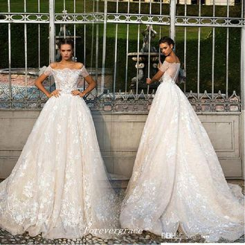 Vintage Ball Gown Off The Shoulder Wedding Dress Arabic Lace Long Women Bridal Gown Plus Size