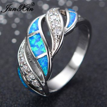 JUNXIN Gorgeous Women Blue Fire Opal Ring Fashion 925 Sterling Silver Filled Jewelry Engagement Rings For Women Best Gifts