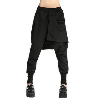 Autumn Women Drop Crotch Baggy Pants Hip Hop Patchwork Harem Pants Solid Elastic Waist Pencil Trousers Punk Street Sweatpants 10