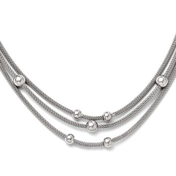 Triple Strand Beaded Mesh Necklace in Sterling Silver, 18.5 Inch