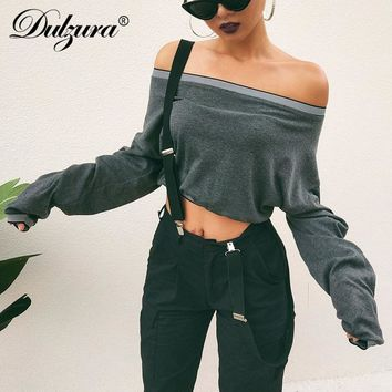 Dulzura long sleeve crop top 2018 autumn winter women casual tshirt stretch neck collar patchwork t shirt