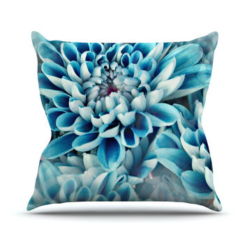 "Susan Sanders ""Floral Paradise"" Blue Flower Throw Pillow"