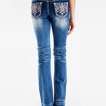 Grace in LA Women's Low Rise Aztec Embroidered Jeans - Boot Cut
