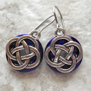 celtic knot earrings: royal blue - dangle earrings - irish earrings - celtic jewelry - endless knot - unique gift - mothers day