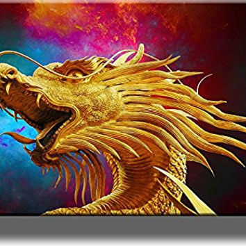 Golden Dragon Picture on Stretched Canvas, Wall Art Decor, Ready to Hang!