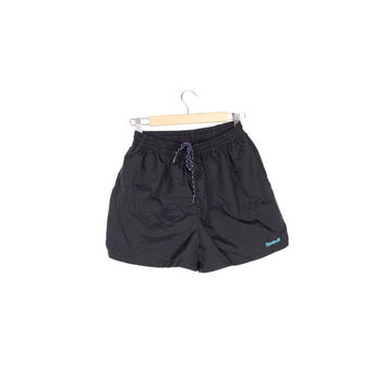 90s REEBOK minimal black shorts / vintage 1990s / nylon short swim trunks / retro athletic / minimalist / running / sporty / small - medium