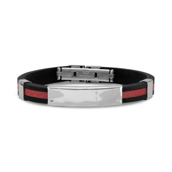 """8"""" Stainless Steel and Red Rubber Men's ID Bracelet"""