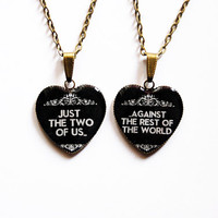 "Just the Two of Us Against the Rest of the World - ""Sherlock"" Quote Jewelry - Set of 2Handmade Vintage Cameo Pendants - Best Friends Jewelry"