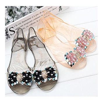 Manual Beands Transparent Jelly Shoes Beach Bowknot Peep-toe Sandals Summer